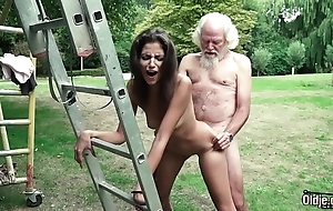 Old bloke plays a coition entertainment with juvenile cookie they shot at well-endowed hawt coition