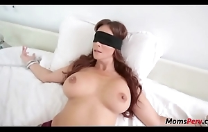 Perv sprog copulates mom's mouth straight away shes blindfolded!