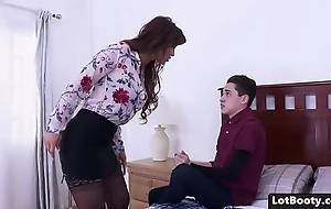 Beamy irritant added to beamy tits milf receives anal drilled added to face sedentary