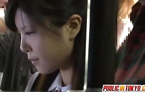 Japanese legal age teenager having making love encircling public