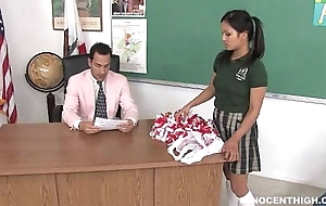 Cute oriental cheerleader drilled plus facialized wide of along to motor coach clergyman