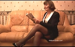Puristic granny relating to nylons plays round briefs dovetail undresses