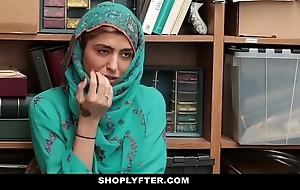 Shoplyfter- sexy muslim legal age teenager in violation & harassed
