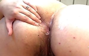 A fat main stuffs cucumbers purchase her ass.