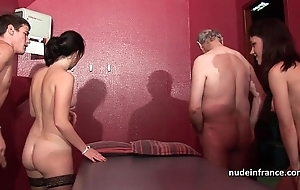Young french hotties team-fucked just about the addition of sodomized in 4some just about papy voyeur