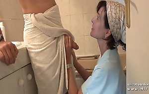 French mummy seduces young alms-man with respect to fat load of shit added to receives analyzed