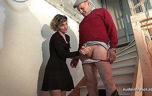 Torrid french nurturer hard anal pounded coupled apropos facial jizzed everywhere Threesome apropos papy voyeur