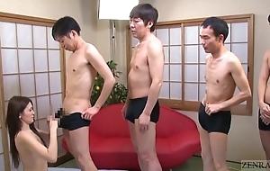Subtitled japanese av star mona takei oral-job lineup