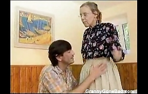 Granny got will not hear of hairy elderly pest anal drilled