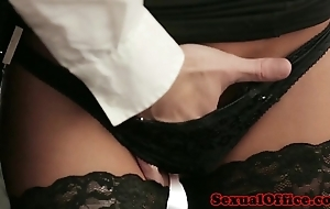 Office secretary thither nylons screwed atop writing-desk