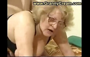 Chubby granny in glasses