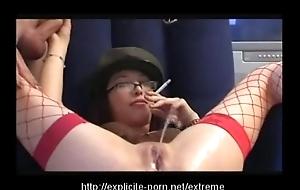 Odd pissing smokin' spanking slut dominates the brush guy lackey
