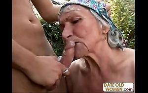 Hideous hairy granny fucks