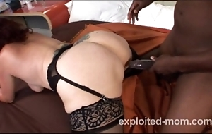 Ancient granny can barely less a heavy black cock in interracial sheet