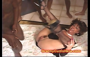 Cum loving granny band team-fucked unconnected with bbc