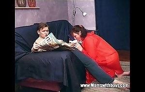 Stepmom teaches stepson in the air actual porn