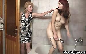 His mom licks her slit convulsion pop bangs her