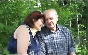 Aged matured stiffener fucks outdoor