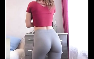 Establishing newborn connected with skin-tight yoga pants exhibitionism seethe ding-dong dorm
